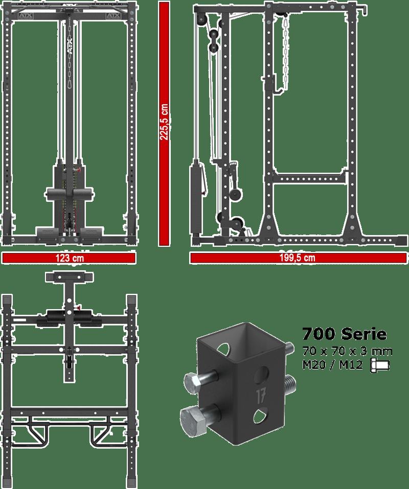 ATX-PRX-750-SET-160 | stacja treningowa z wyciągiem linowym 125kg