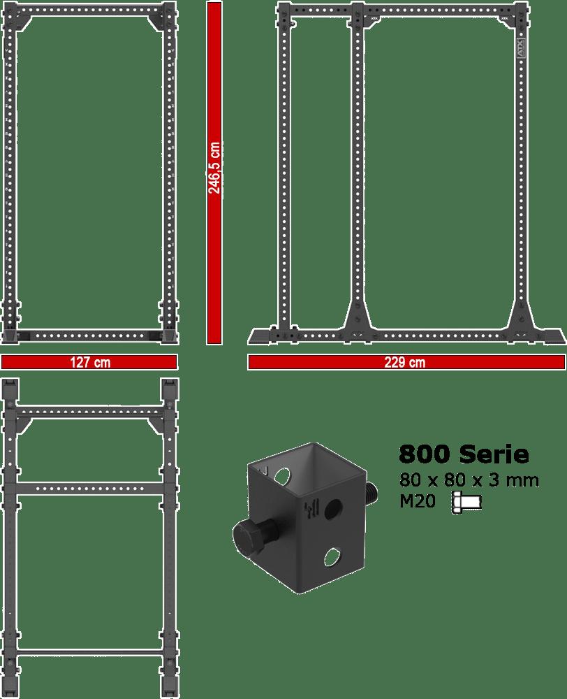 Klatka Power Rack ATX-PRX-820-EXT | wymiary gabarytowe