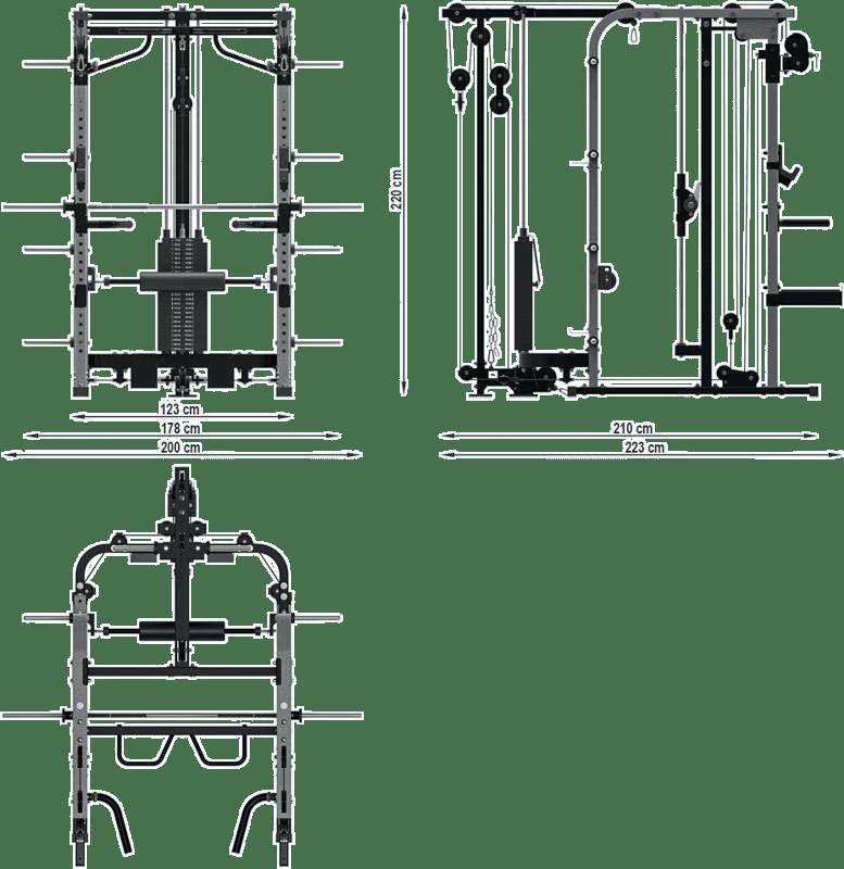 ATX-SCR-680-SW | brama z suwnicą Smith'a i wyciągiem ze stosem 125kg | wymiary