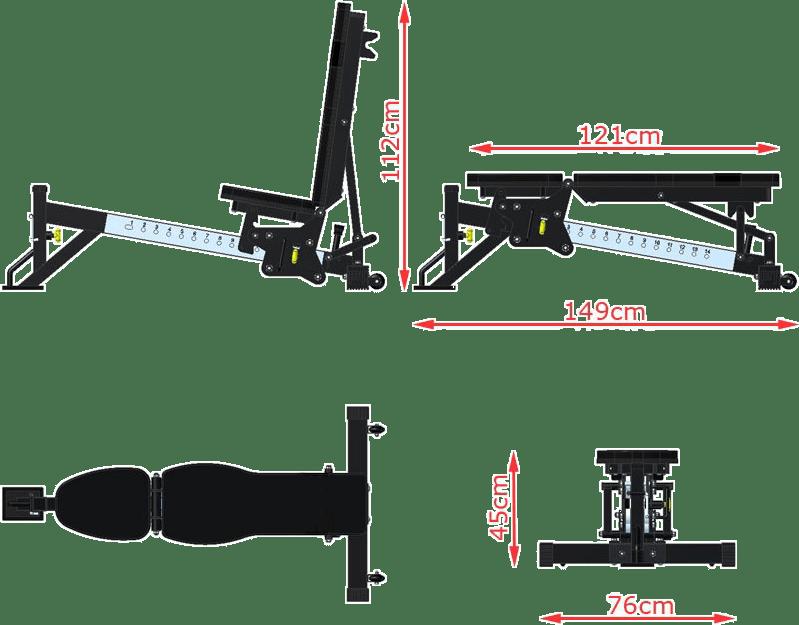 Wielofunkcyjna ławka treningowa ATX-MBX-650 | wymiary
