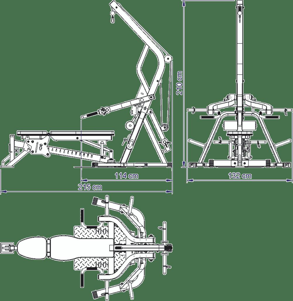 Wymiary gabarytowe stanowiska treningowego ATX-WSX-670 Triplex