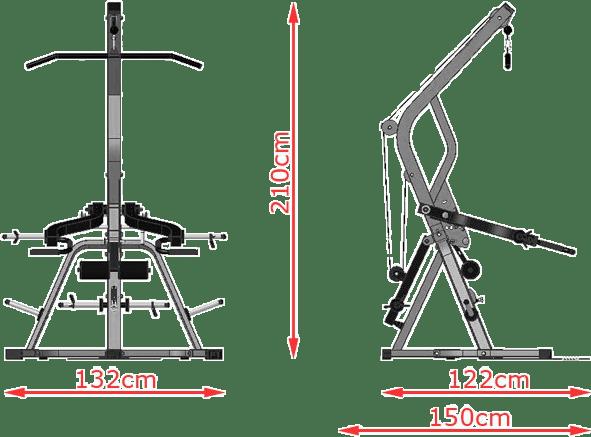 ATX Triplex | wyciąg linowy na wolne obciążenia | wymiary