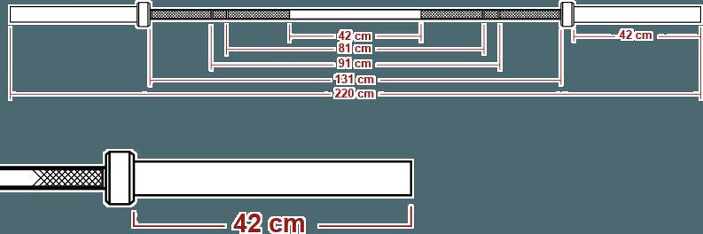 Wymiary gryfu olimpijskiego prostego ATX LH-50-ATX-BM
