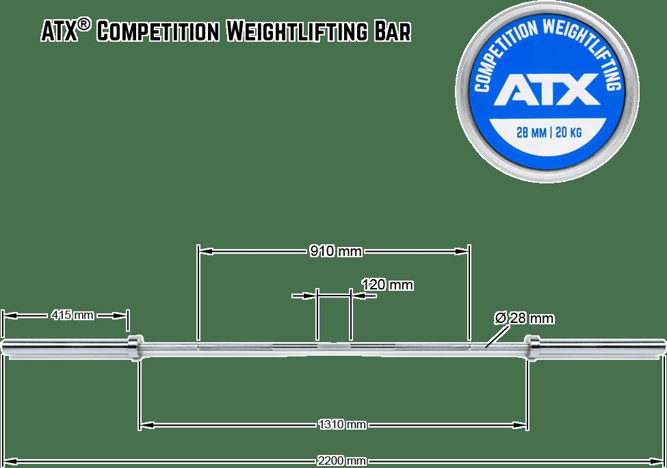 ATX Competition Weightlifting Bar | wymiary gryfu olimpijskiego