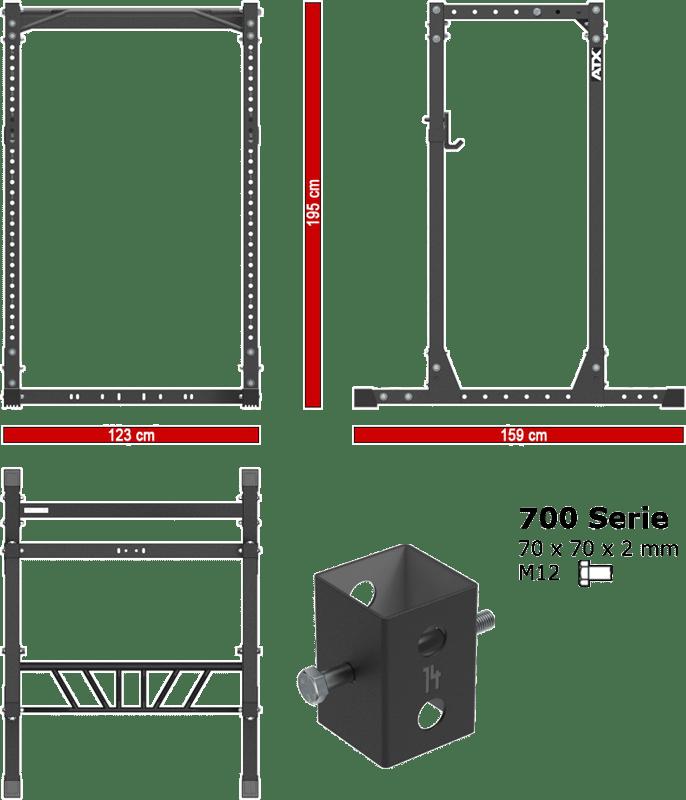ATX-PRX-710-CFG | wymiary gabarytowe klatki treningowej