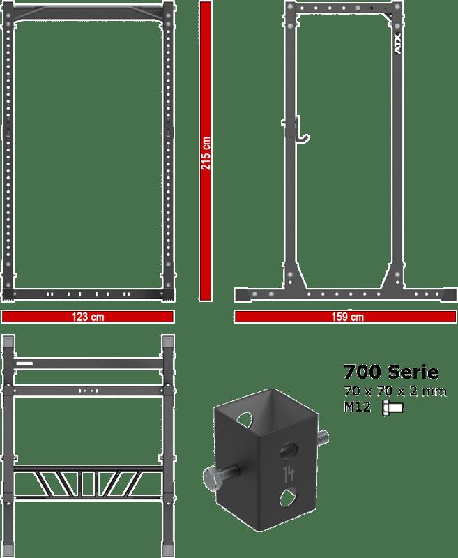 ATX-PRX-720-CFG | wymiary gabarytowe klatki treningowej