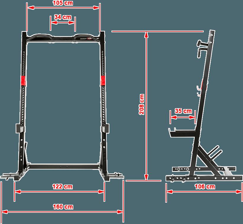 Half Rack Heavy Duty HD-HR-700 | wymiary gabarytowe