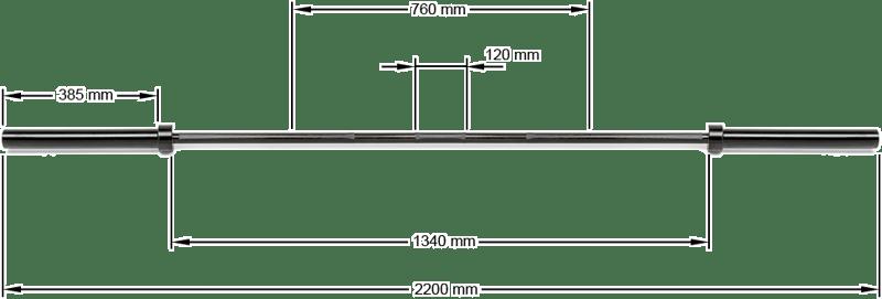LH-ECO-50-220-B | wymiary gryfu olimpijskiego 220cm