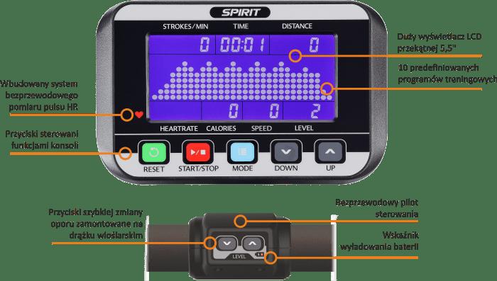 CRW800 Spirit Fitness | konsola komputera