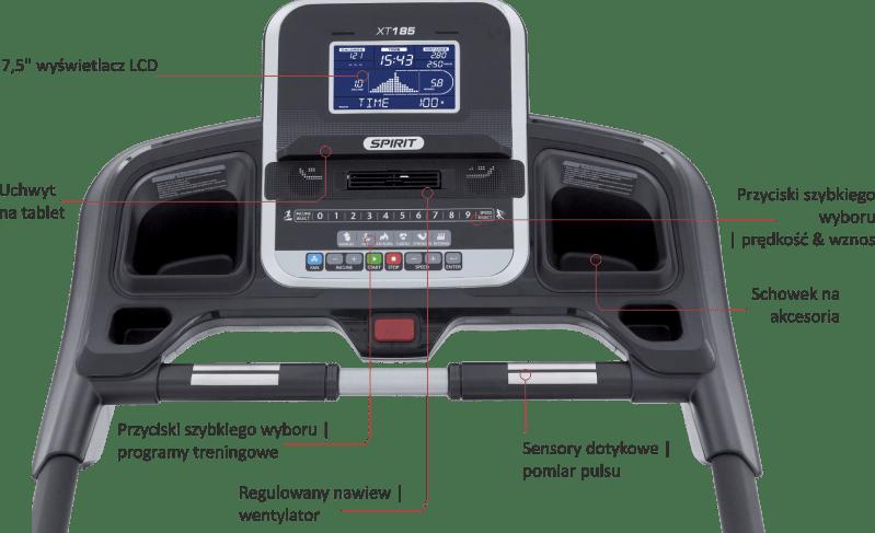XT185 Spirit Fitness   opis konsoli komputera